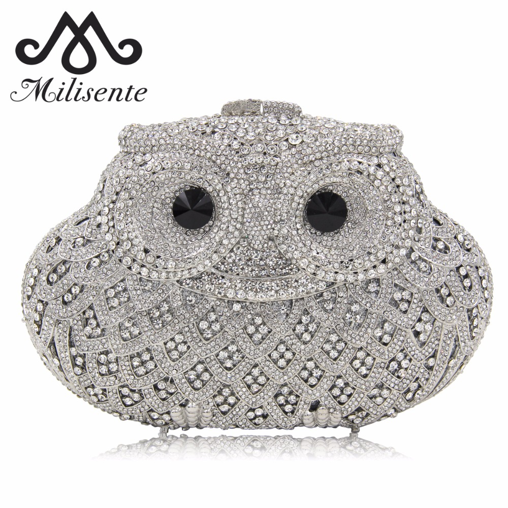 Milisente Women Owl Shape Evening Bag Luxury Crystal Clutch Purse Sisters Wedding Party Gold Black Purple White Green Purses
