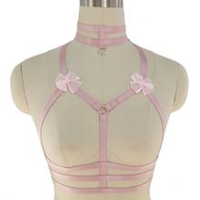 Original Design Pink Collar Bow Harness Bra Kawaii Open Chest Bondage Body Cage