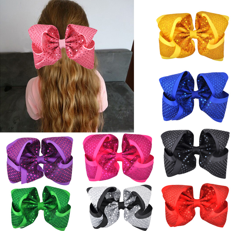 8 Inch Multi-color Sequin Hair Bow Hairgrips Hair Clips Grosgrain Ribbon   Headwear   for Girls Festival Party Hair Accessories