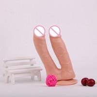 Sexo Anal Brinquedos Eróticos Para Adultos New Arrival Suave Realista Dildos Duplos Com Forte Ventosa Para As Mulheres Lésbicas