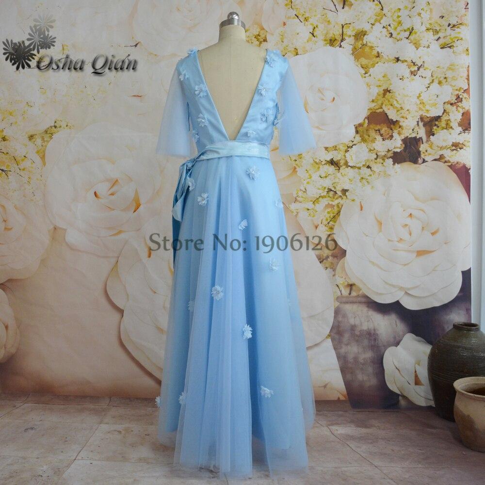 Sky Blue Beautiful Prom Dresses High Low V Neck Flowers Handmade ...