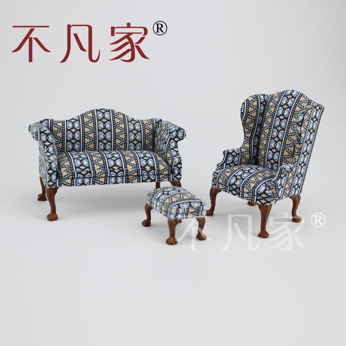 Кукольный домик 1/12 Масштаб Миниатюрная мебель Ткань диван 3шт