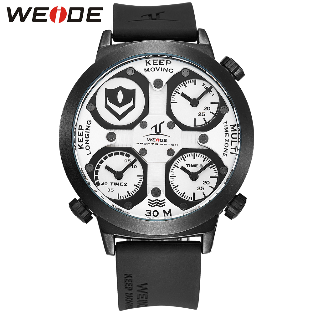 ФОТО WEIDE Luxury Brand Universe Series Three Time Zones Quartz Movement Waterproof Simple Men Watches White Dial Silicone Strap