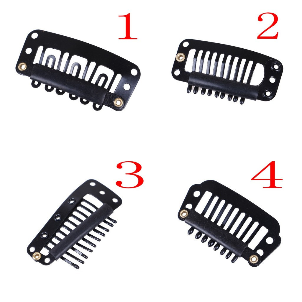 10pcs U/wire Shape Rubber Wig Clips For Hair Extensions 4 Styles Black Wig Combs Hair Clips For Weave Extension Bright And Translucent In Appearance