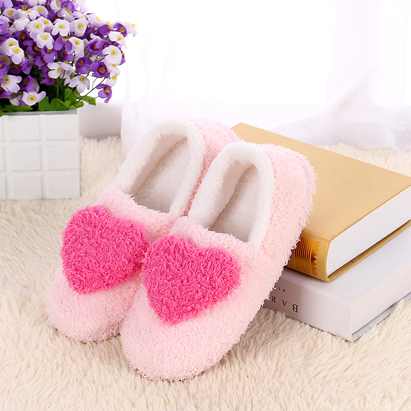 Women Floor Pack heel Slippers Ladies Home Use Indoor Girls Cotton Padded Heart Decoration Female Warm Shoes Outsole autumn travel aviation hotel home shoes cotton padded folding slippers women men indoor floor slippers free shipping