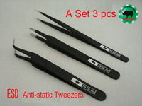 A Set 3 pcs Japanese RHINO TS-SS  TS-7A  TS-2A ESD Tweezers Anti-static High-precision Super Hard For Repairing Watch or Mobile