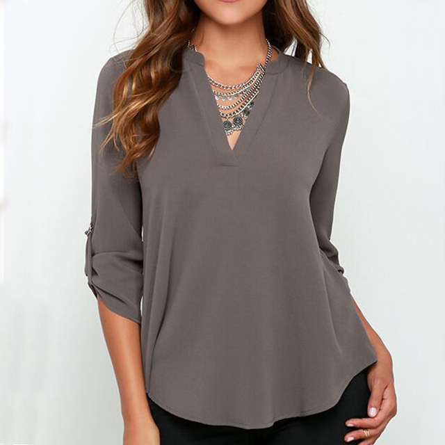 2018 Europe and America Style Chiffon Shirts V neck Full Sleeve Large Size 5XL Solid Thin Casual Women Blouses Summer New 9996
