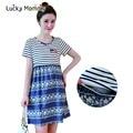 Hot Sale Stripe Denim Cotton Maternity Nursing Dress for Feeding Breastfeeding Clothes Maternity Dresses Women's Clothing