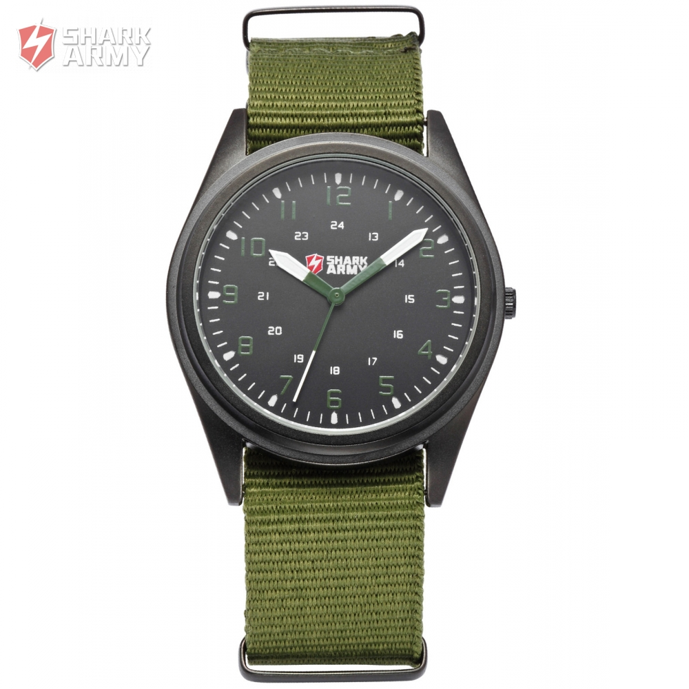 SHARK ARMY Brand Men Sports Military Watches Ultra Thin Slim Case Quartz Clock Nylon Strap Male Watch Relogio Masculino /SAW039