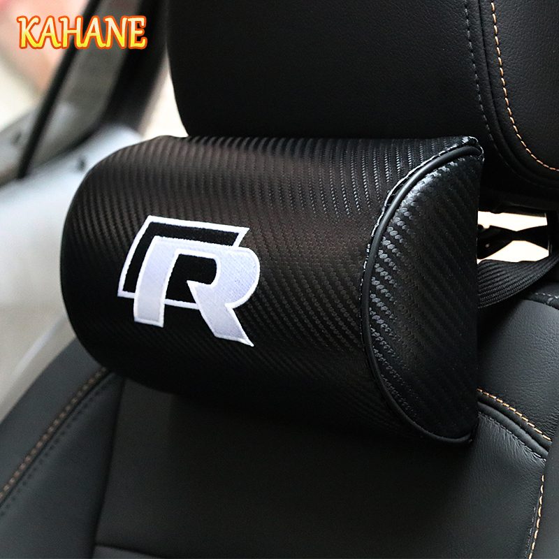 KAHANE 2X R logo Neck Car Headrest FOR Volkswagen VW POLO Tiguan Passat B5 B6 B7 Golf 4 5 6 7 MK6 EOS Scirocco Jetta MK5 MK6