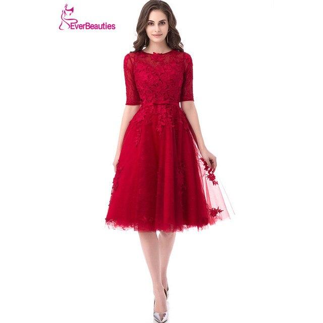 611090e1df8 Robes De soirée courtes a-ligne femmes dentelle Appliques Robe De soirée  demi manches élégant