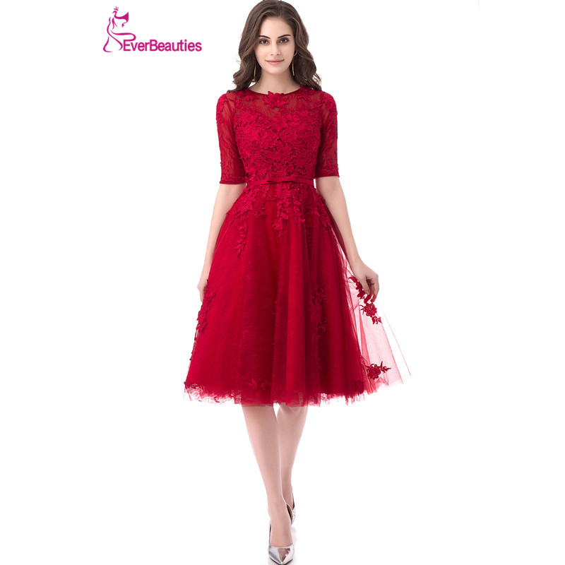 Short Evening Dresses A-Line Women Lace Appliques Robe De Soiree Half Sleeves Elegant Party Formal Prom Dress 2019 Abendkleider