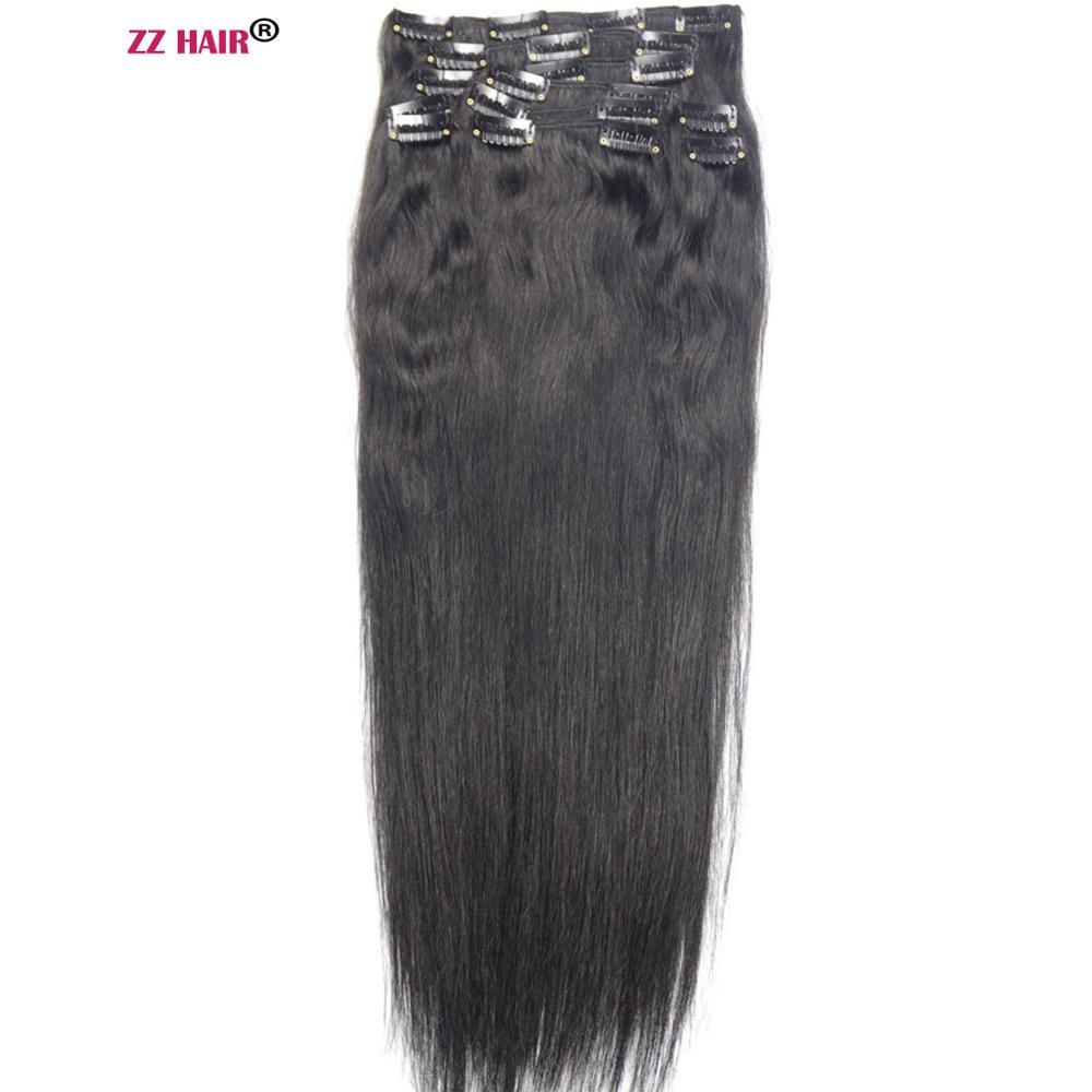 ZZHAIR 140g-280g 16 -24 Machine Fait cheveux remy 10 pièces Ensemble Clips En extensions de cheveux humains plein casque à écouteurs cheveux naturels raides