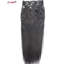 Set Human-Hair-Extensions ZZHAIR Remy Full-Head Clips Natural Straight in 140g-280g 16--24--Machinemade