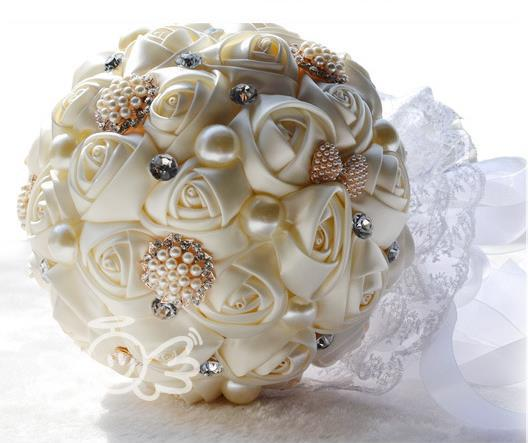 2014 luxe artificielle soie Rose mariée tenant des fleurs brillant diamant perle cristal ruban mariage Bouquet