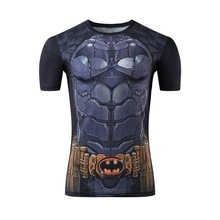 2016 super hero batman printing skin-tight cultivate one's morality short sleeve T-shirt man round collar short sleeve T-shirt