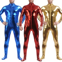 2019 Mens Sexy Faux Leather Full one piece Jumpsuit Bodysuit Leotard Club Wear Zipper Wet Look Costume Shiny Body Suit Zentai