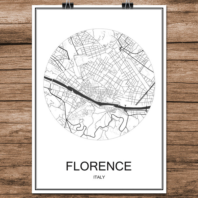 FLORENCE Italy Famous World City Street Map Print Poster Abstract ...