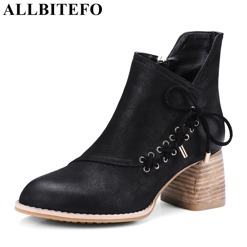 ALLBITEFO plus size:34-43 genuine leather thick heel martin boots medium heel winter boots high quality women boots girls shoes free shipping 2013 genuine leather high heel casual cotton padded shoes plus size 40 43 boots thick heel women s boots z476