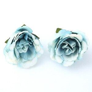Image 2 - 10 ชิ้น/ล็อตประดิษฐ์ดอกไม้ 4 ซม. ผ้าไหมกุหลาบสำหรับงานแต่งงานตกแต่งบ้าน DIY ดอกไม้ scrapbook craft ปลอมดอกไม้