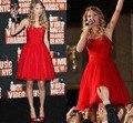 Vestido De Festas Curto 2016 Encargo Una línea de Novia Longitud de La Rodilla Vestidos de Baile Rojo Cortos Vestidos de Fiesta