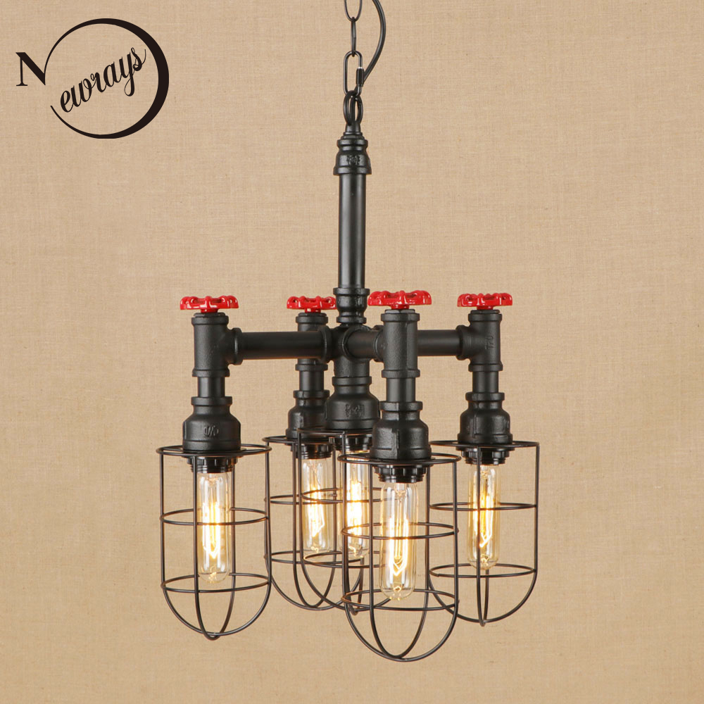Vintage iron retro hang lamp LED 5 lamp Pendant Light Fixture E27 220V For hotel hall Lights parlor study dining room bed room