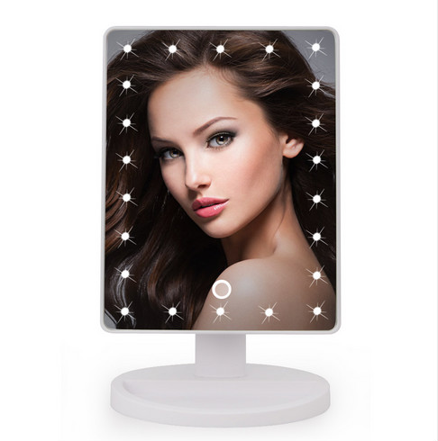 22 LED Touch Screen Makeup Mirror Professional Vanity Mirror Lights Health Beauty Adjustable Countertop 180 Rotating