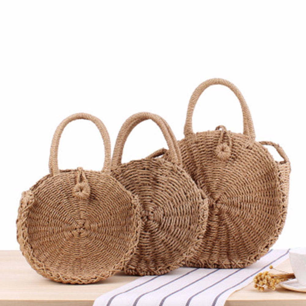 2018 New Rattan Woven Round Messenger Handbag Women Summer holiday Beach Retro Tote Shoulder Hand Shoulder Dual-use Straw Bags