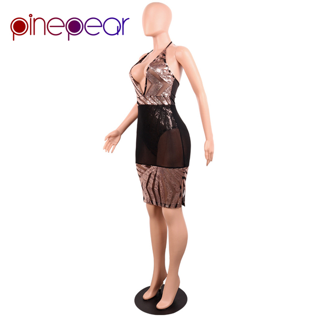 PinePear Glitter Sequin Dress 2019 NEW Women Deep V Neck Halter Backless Slit Mesh Dress See Through Sexy Club Vestido Wholesale
