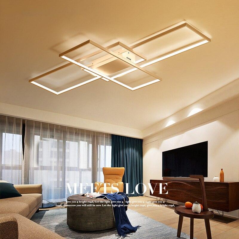 Moderne Simple Carre En Aluminium Led Plafonnier Creative Salon