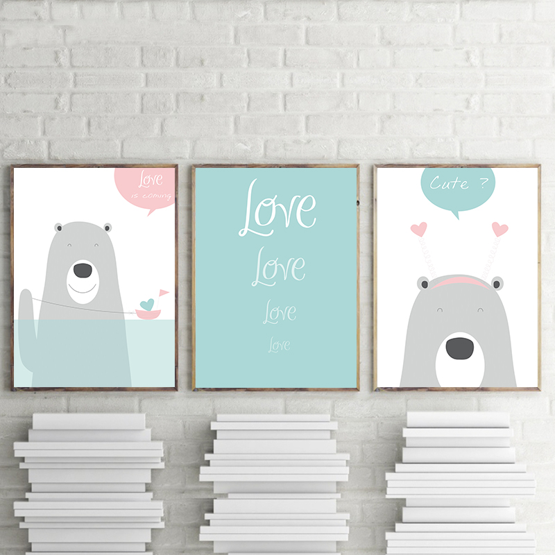 Fresh Cute Cartoon Bear Blue English Canvas Painting Art Abstract Print Poster Picture Wall Living Room Home Decoration A2 A3 A4