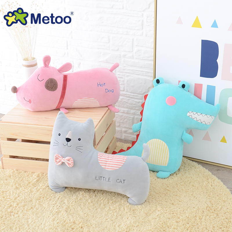 Metoo Doll Cushion Pillow Bear Dog Cat Rabbit Kawaii Plush Stuffed Animal Toys Children Baby Care Birthday Christmas Gifts S22 75cm super cute plush toy dog lipstick dog pillow doll lying prone as gifts to friends and children with down cotton