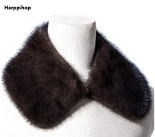 Harppihop Genuine mink fur collar scarf man garment accessory natural marten jacket coat