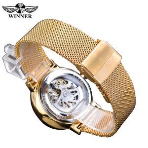 Image 4 - Zwycięzca złote męskie zegarki automatyczny biznesowy zegarek na rękę szkielet analogowy siatkowy pasek stalowy własny wiatr mechaniczny Reloj Hombre Saat