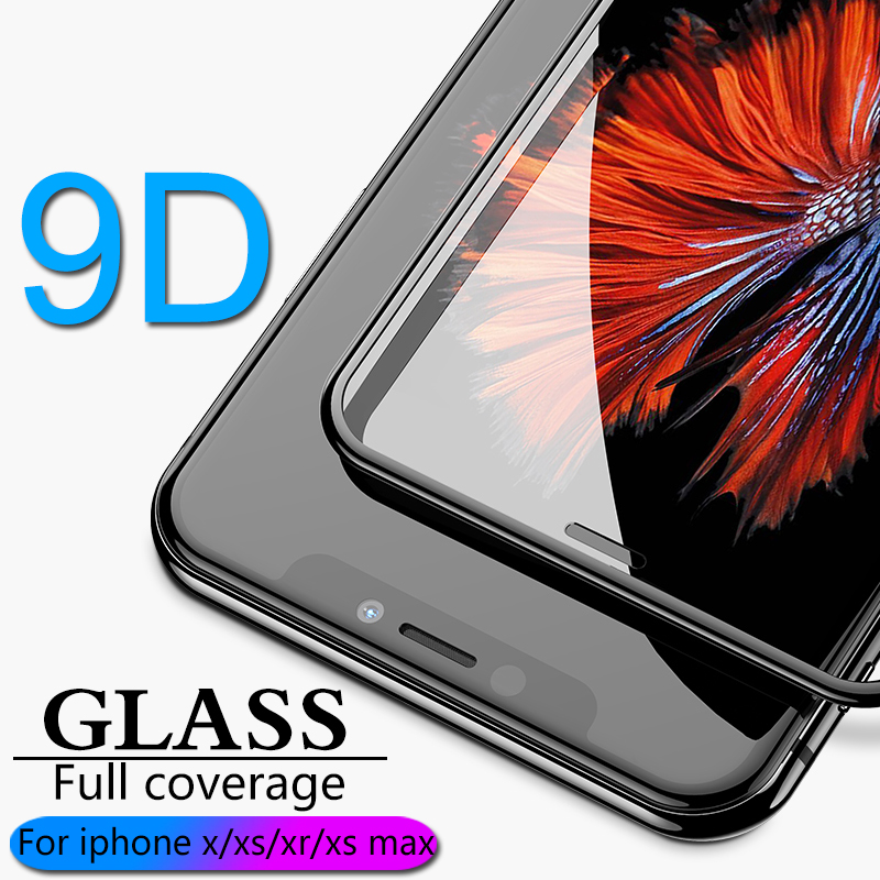 9D Full coverage protective glass for iPhone X XR XS max glass iphone XS max X XR screen protector iPhone XS max XR X glass flim-in Phone Screen Protectors from Cellphones & Telecommunications on