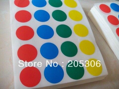 100 conjuntos de diametro 20 milimetros vermelho azul amarelo verde etiqueta de papel redonda pontos