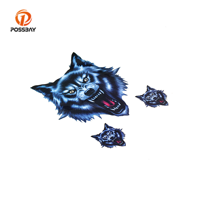 POSSBAY Wolf Head Decal Vinyl Funny Sticker Skull Head Fire Flame Stickers Decals For Motorcycle Motorbike Car Scooter Stickers