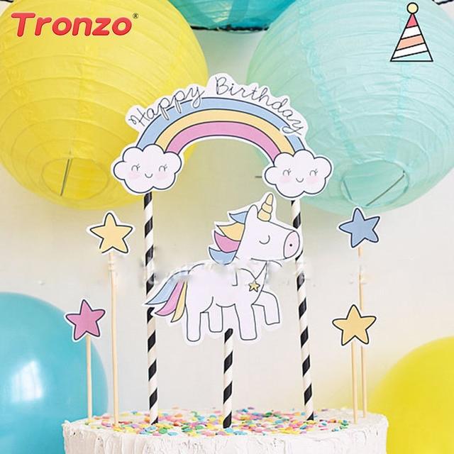 Tronzo DIY Unicorn Cake Topper 1set Happy Birthday Party Decoration For Kids Gift Diamon Star Cloud