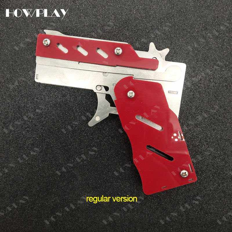 HowPlay rubber band Gun Metal Mini toy guns Folding 6 bursts Of Bullets Shoot toy gun boy toy boyfriend gift toy pistol gun