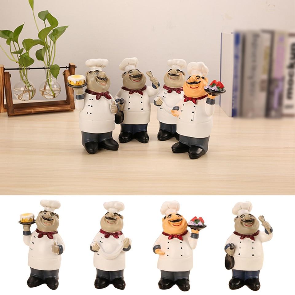 Model Kitchen Restaurant Bar Chef Figurine Statue Sculpture Holding Plate Decor