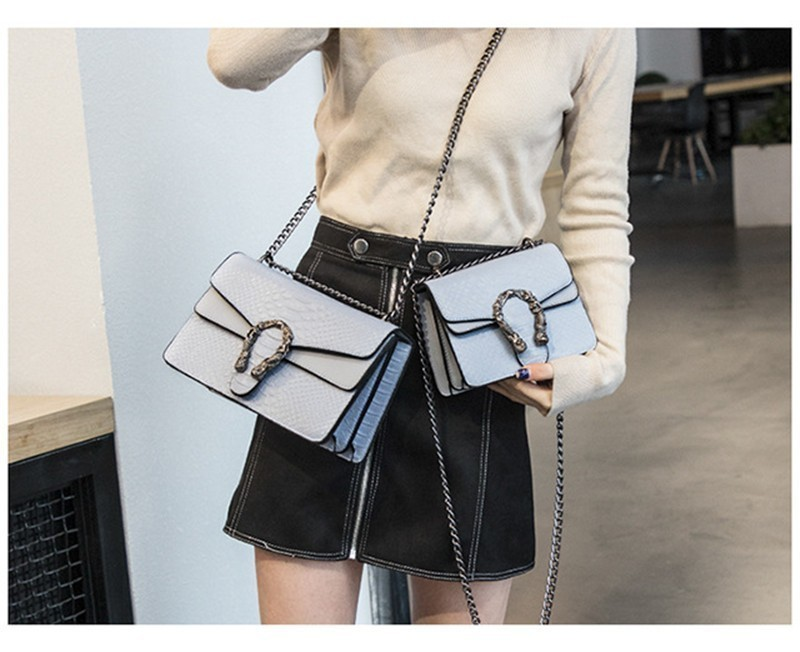 Luxury Handbags Women Bags Designer 2018 Alligator PU Leather Version Of Black Blue Gray Clutches Chains Ladies Crossbody Bags 12