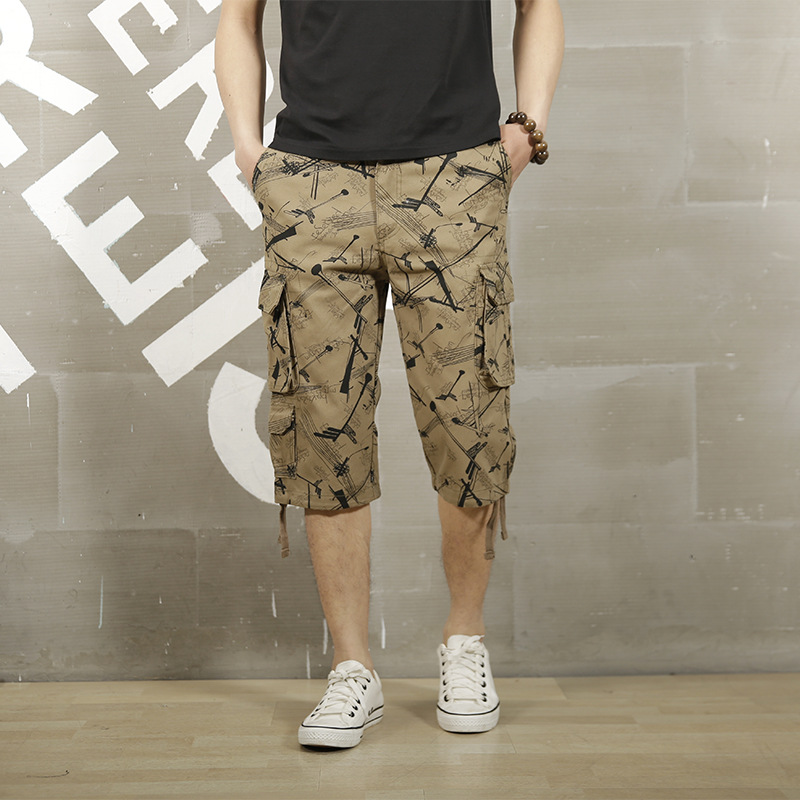 New Men's Camo Cropped Pants Summer Multiple Pockets Pure Cotton Male Casual Calf Length Pant Men Plus Size Trousers AY109