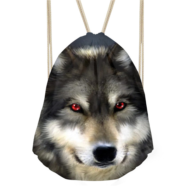 Noisydesigns Men s Cool Wolf Printed Sport Drawstring Bags Softback Men Beach Storage Bags Kids Boys