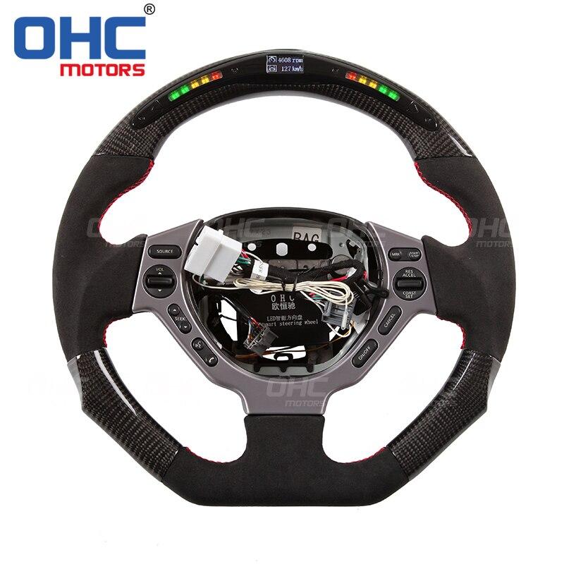 Glossy Carbon Fiber Steering Wheel Cover For Nissan GTR GT-R R35 R-35 2009-2016