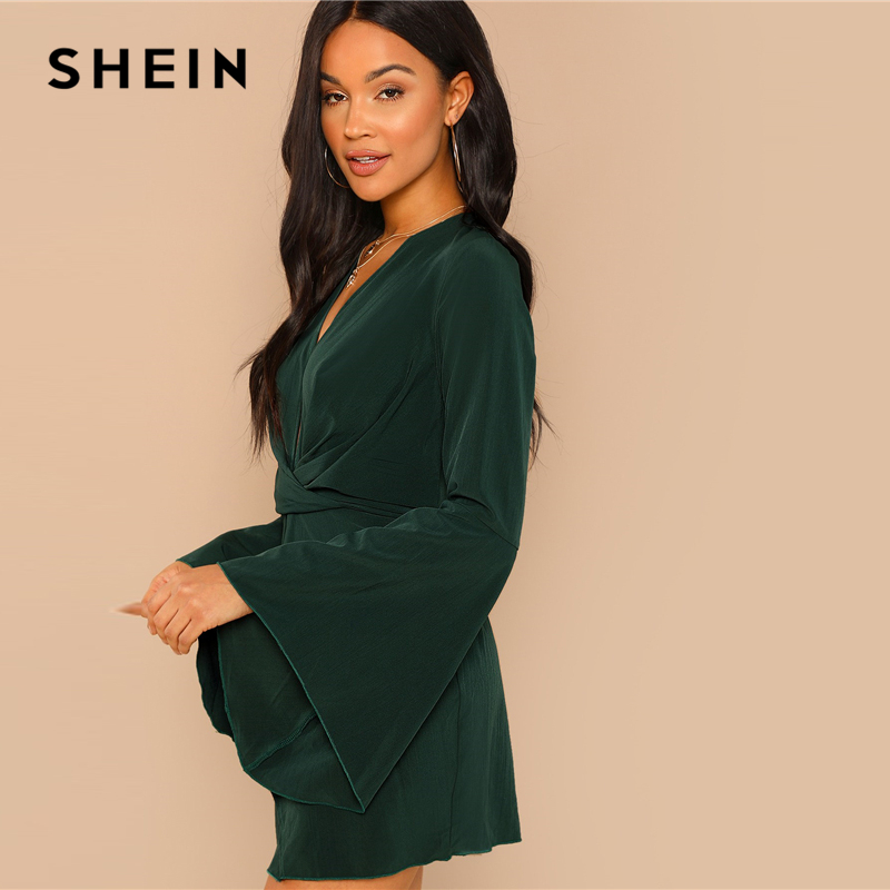SHEIN Green Highstreet Party Elegant Night Out Plunge Neck Bell Sleeve  Sheath Dress 2018 Autumn Slim Modern Lady Women Dresses-in Dresses from  Women s ... 9b72e30cf337