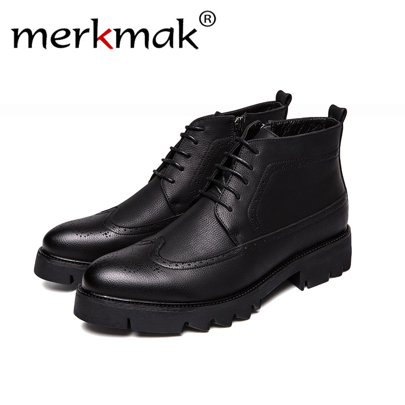 Merkmak 2018 Business Casual Boots Genuine Leather Men Shoes Fashion Male Shoes Winter Ankle Boots Male Boots Winter Men Shoes