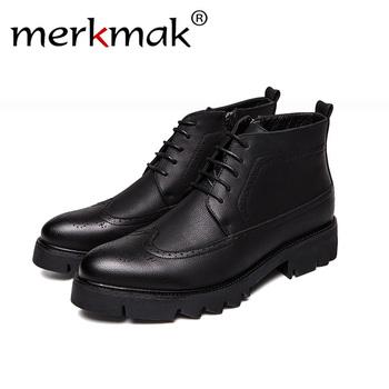Merkmak 2018 biznes buty casual oryginalne skórzane buty męskie moda buty męskie zimowe botki męskie buty zimowe męskie buty tanie i dobre opinie Dla dorosłych Przypadkowi buty Skóra Split Oddychająca Masaż Zima Gumowe Lace-up Pasuje prawda na wymiar weź swój normalny rozmiar