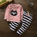 NEW Children Clothes Suits Minnie girls sports suits top Cartoon Elasticity Baby Kids T-Shirts + Leopard Pants newborn clothes