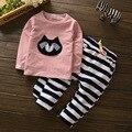 NOVAS Crianças Roupas Ternos Minnie meninas sports ternos top Elasticidade Bebê Dos Desenhos Animados Crianças Camisetas + Calças de Leopardo roupas recém-nascidos