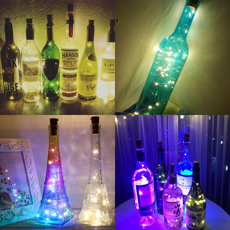 2m 20LEDs Wine Bottle String Lights Waterproof Silver Copper Wire Light Fairy Cork String Light for Party and Wedding Decoration in LED Night Lights from Lights Lighting